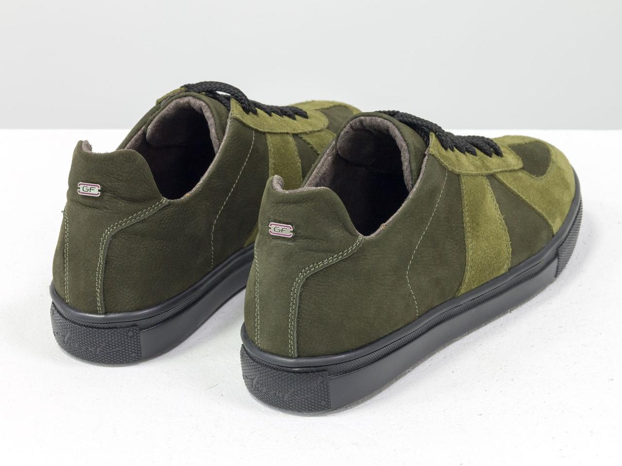 Стильные кроссовки из натуральной замши и матовой кожи оливкового и болотного цвета - фото 5