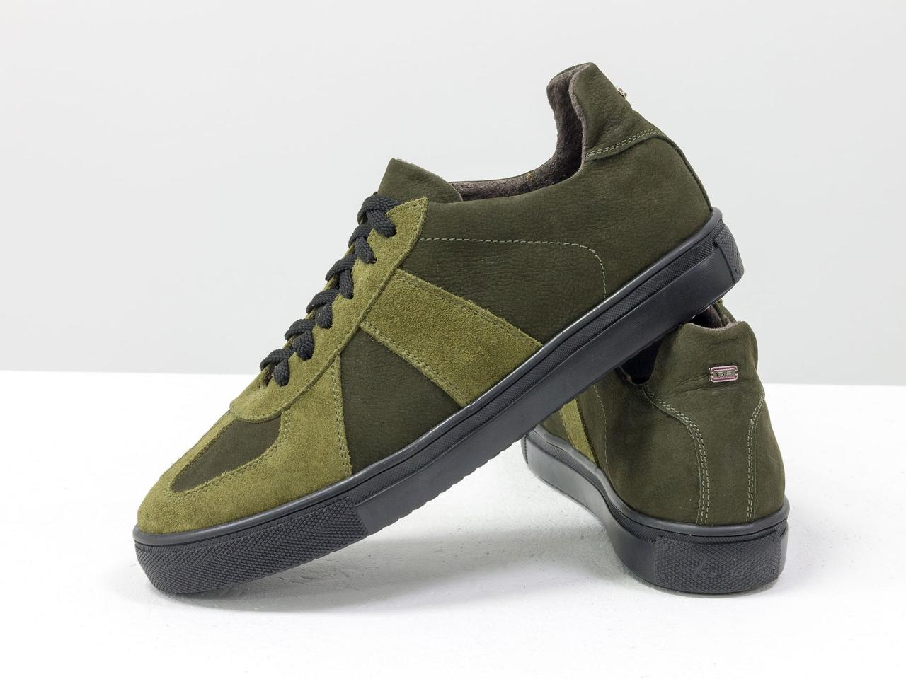 Стильные кроссовки из натуральной замши и матовой кожи оливкового и болотного цвета - фото 2