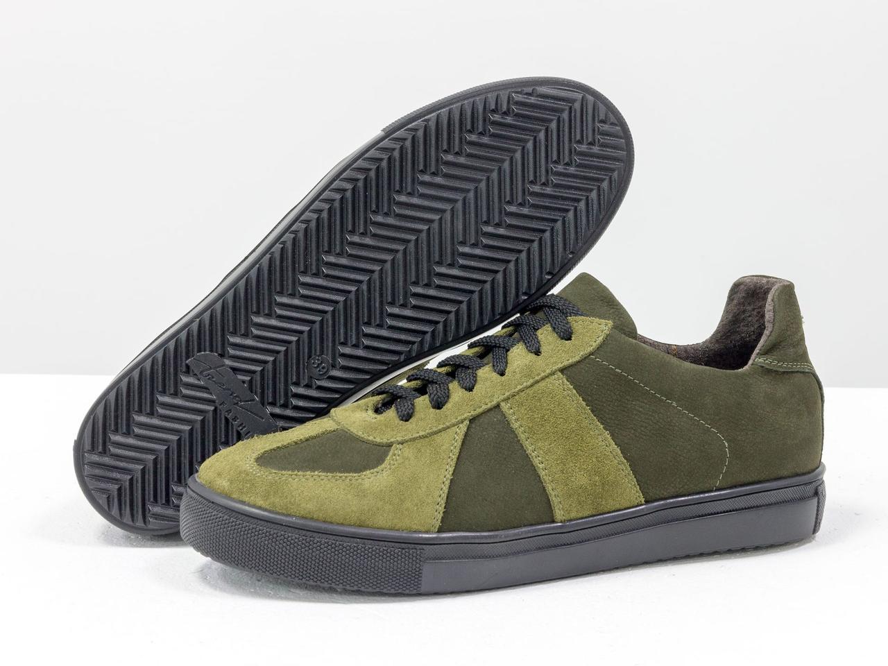 Стильные кроссовки из натуральной замши и матовой кожи оливкового и болотного цвета - фото 7