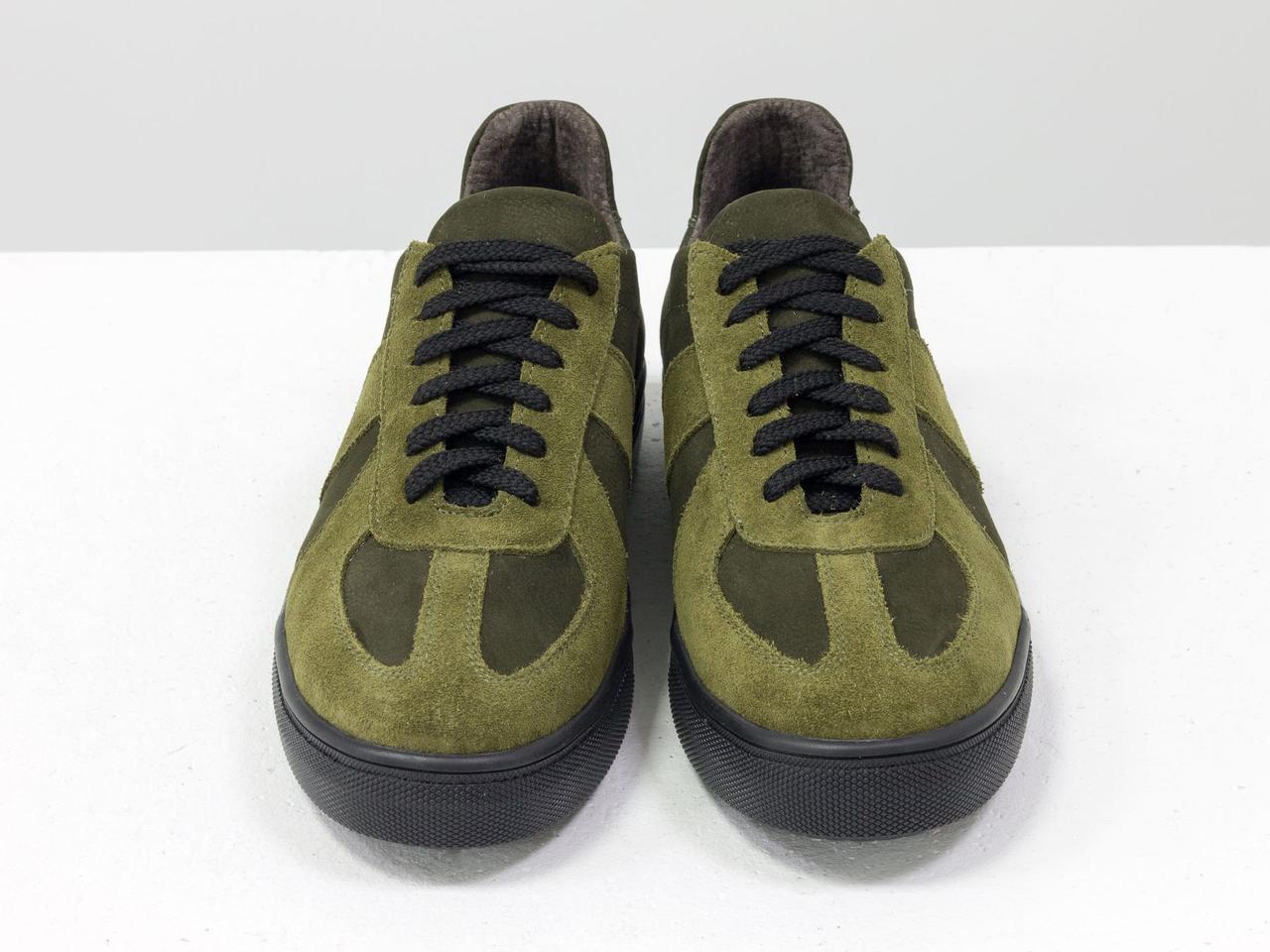 Стильные кроссовки из натуральной замши и матовой кожи оливкового и болотного цвета 41 - фото 8