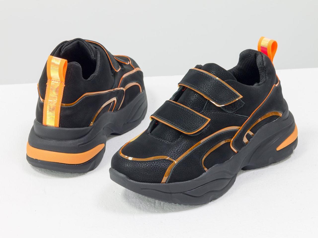Яркие неоновые кроссовки на липучках из натуральной бархатной кожи черного цвета - фото 7