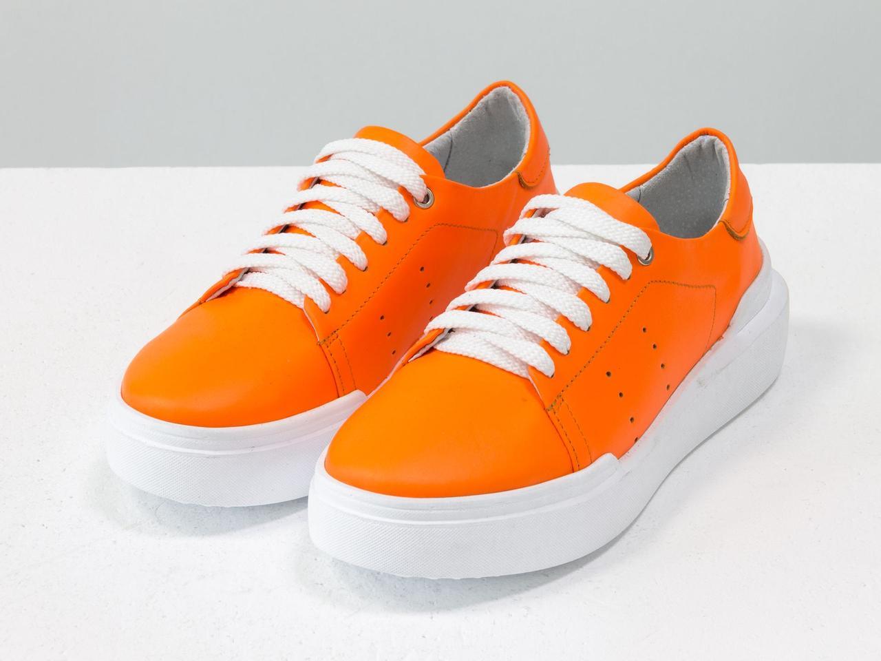 Невероятные неоновые кеды из натуральной матовой кожи ярко-оранжевого цвета 40 - фото 6