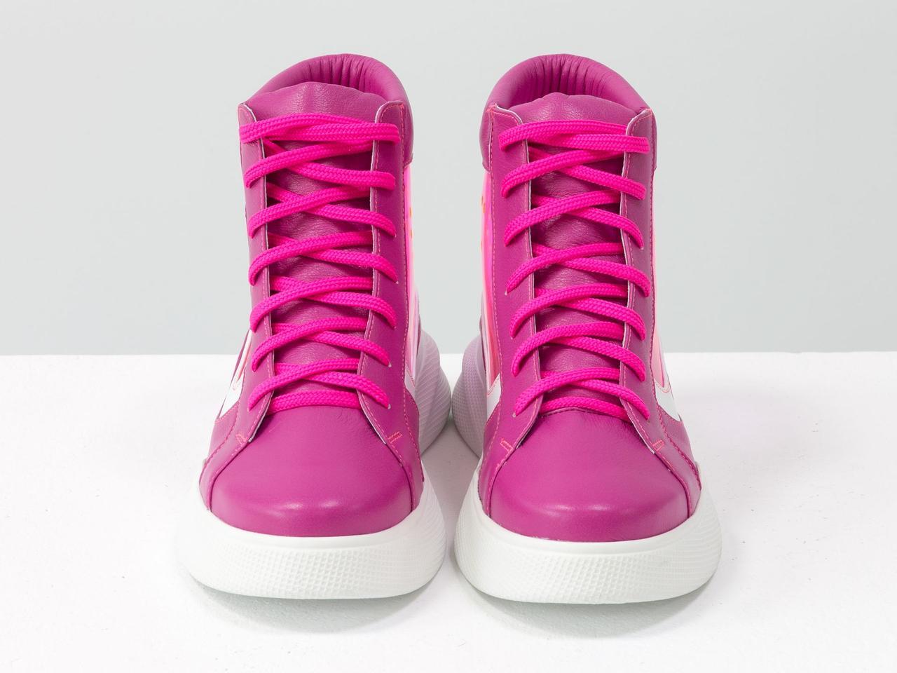 Дизайнерские прозрачные ботинки из натуральной кожи малинового и белого цвета со вставками из мягкого силикона - фото 4
