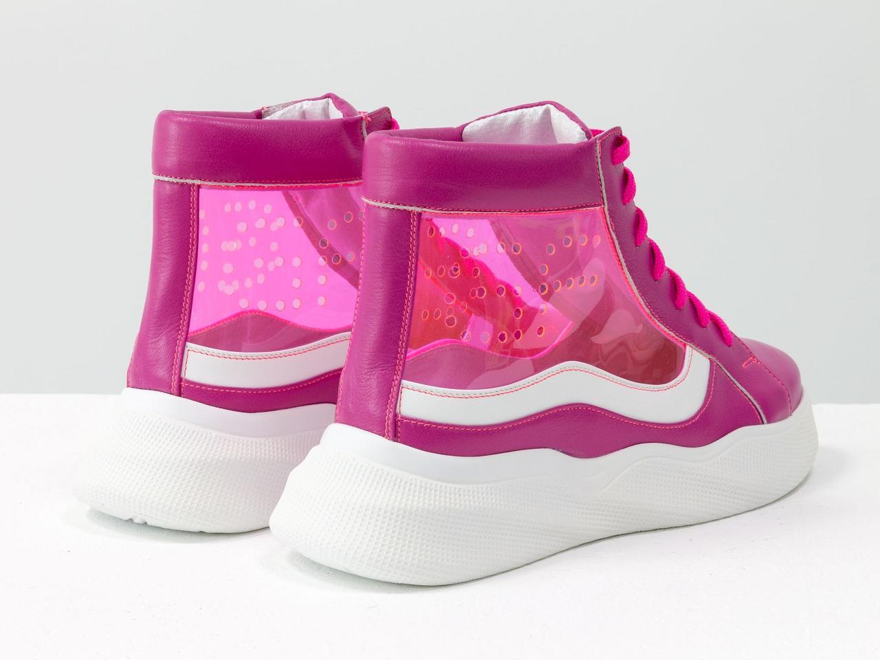 Дизайнерские прозрачные ботинки из натуральной кожи малинового и белого цвета со вставками из мягкого силикона - фото 5