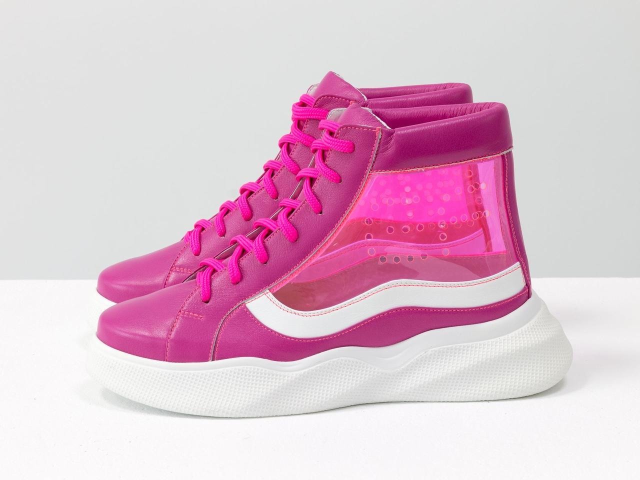 Дизайнерские прозрачные ботинки из натуральной кожи малинового и белого цвета со вставками из мягкого силикона - фото 7