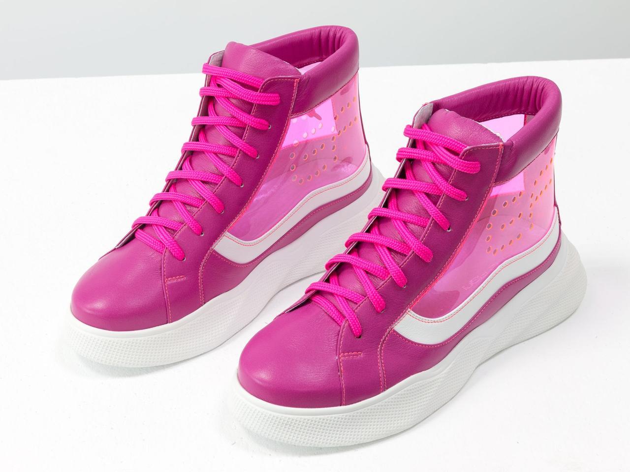 Дизайнерские прозрачные ботинки из натуральной кожи малинового и белого цвета со вставками из мягкого силикона - фото 2