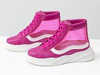 Дизайнерские прозрачные ботинки из натуральной кожи малинового и белого цвета со вставками из мягкого силикона