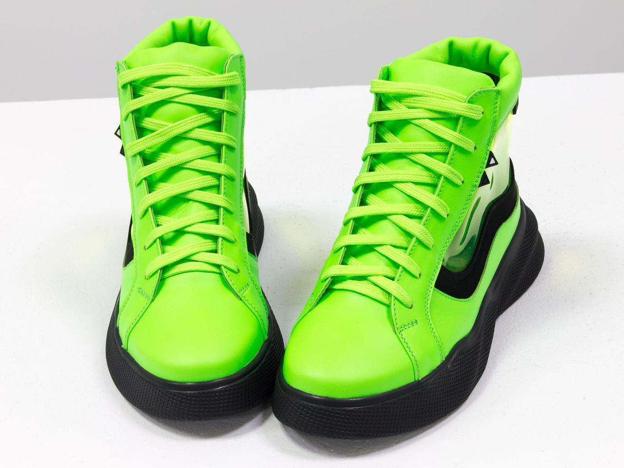 Дизайнерские прозрачные ботинки из натуральной неоновой кожи салатового и черного цвета - фото 4