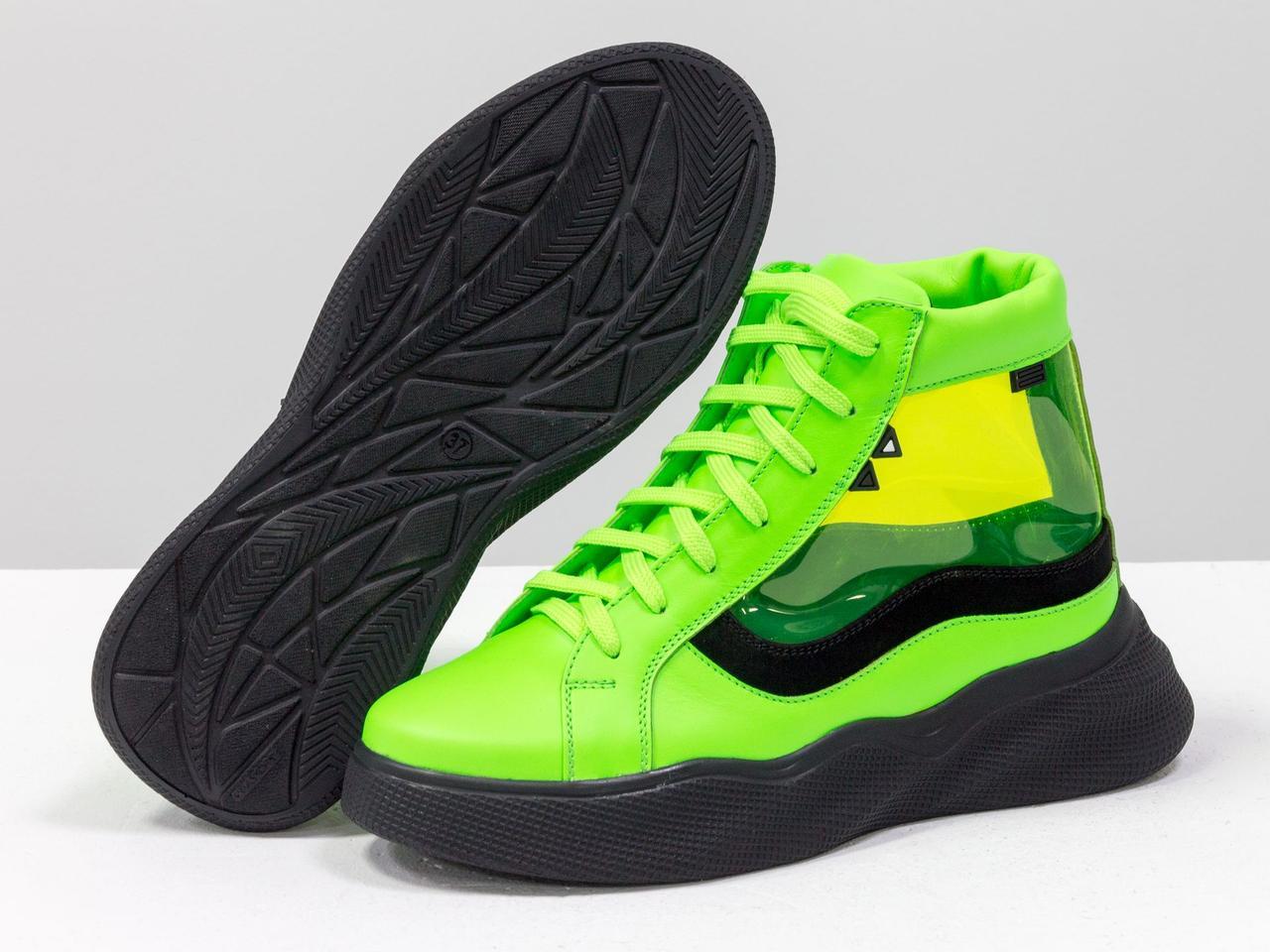 Дизайнерские прозрачные ботинки из натуральной неоновой кожи салатового и черного цвета - фото 5