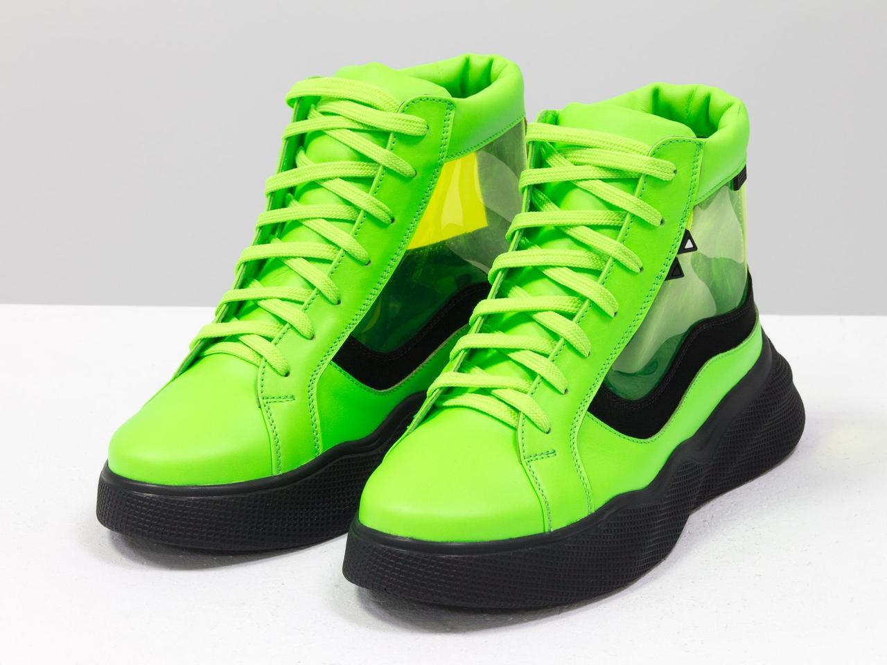 Дизайнерские прозрачные ботинки из натуральной неоновой кожи салатового и черного цвета - фото 6