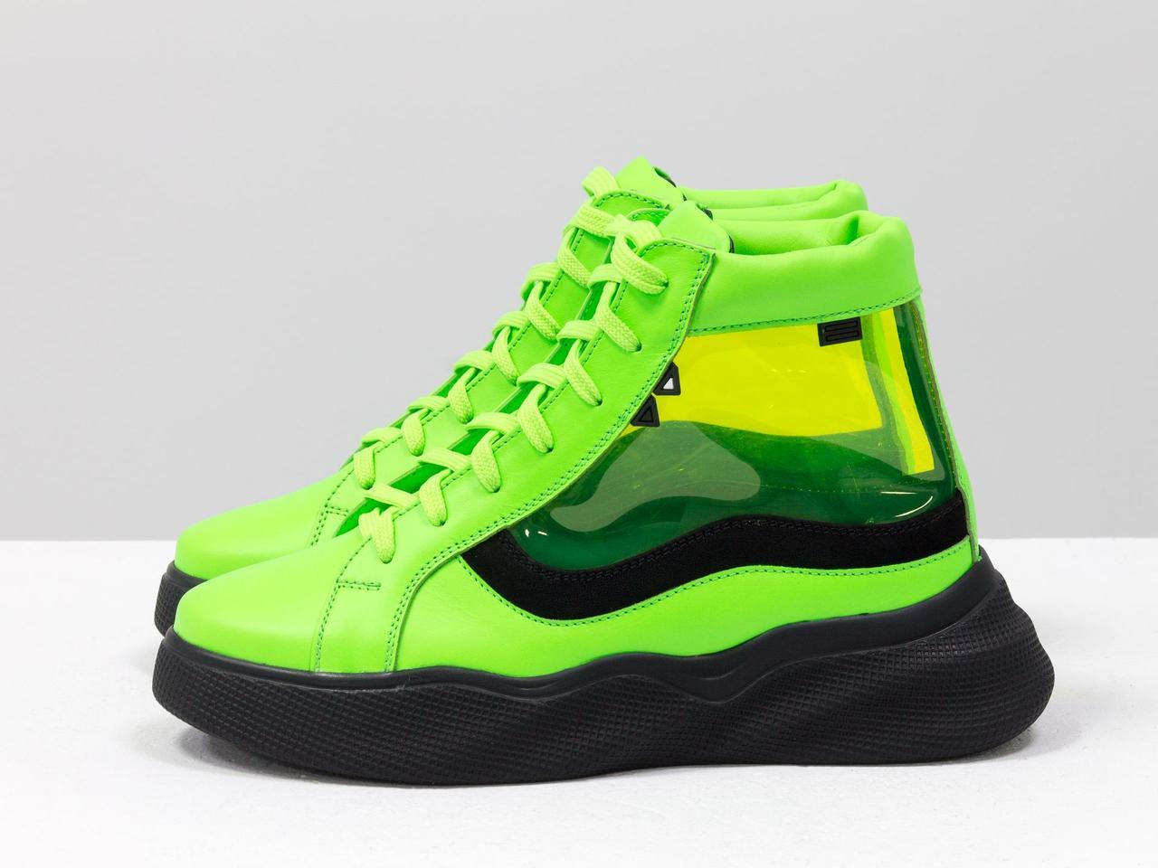 Дизайнерские прозрачные ботинки из натуральной неоновой кожи салатового и черного цвета - фото 7