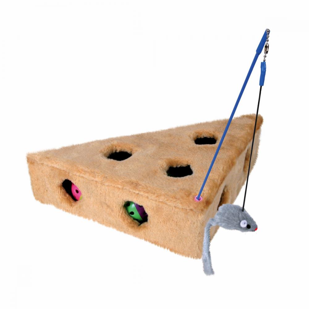 Плюшевая игрушка Trixie Сыр с мышкой на резинке - 36х26 см