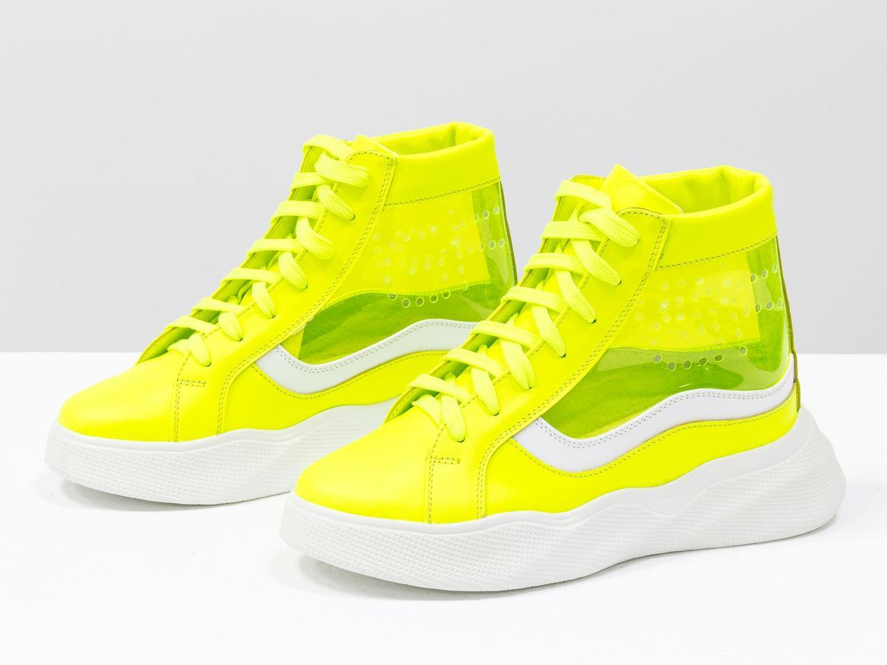 Дизайнерские прозрачные ботинки из натуральной неоновой кожи желтого и белого цвета - фото 3