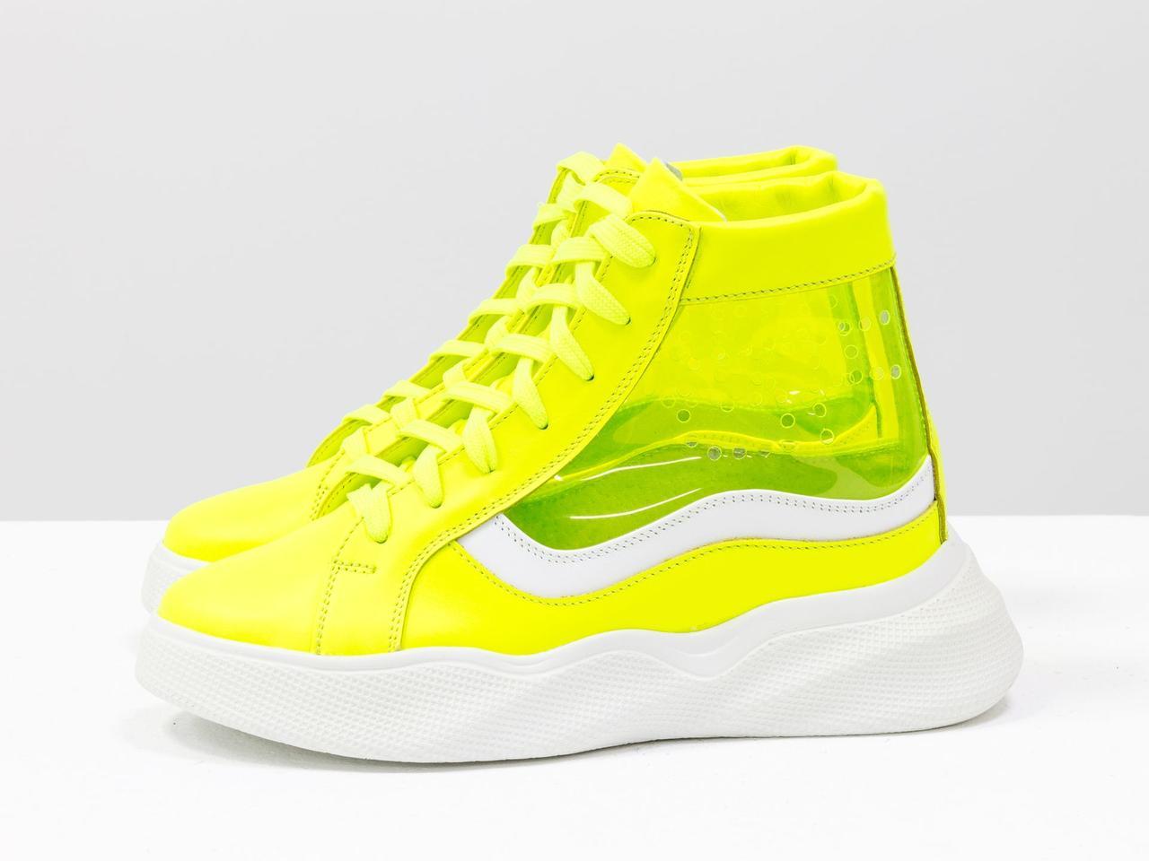 Дизайнерские прозрачные ботинки из натуральной неоновой кожи желтого и белого цвета - фото 4