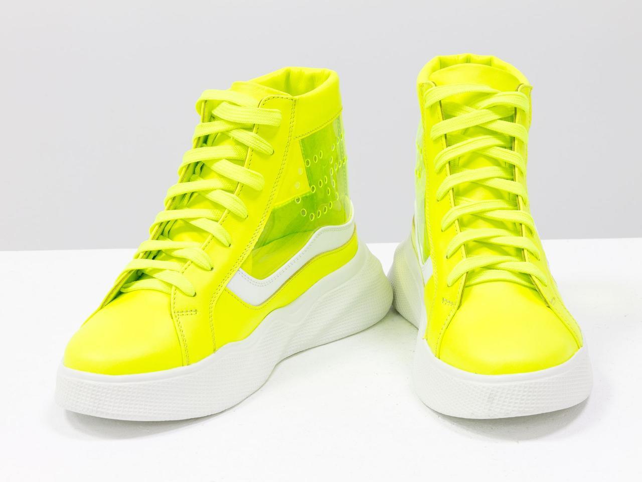Дизайнерские прозрачные ботинки из натуральной неоновой кожи желтого и белого цвета - фото 5