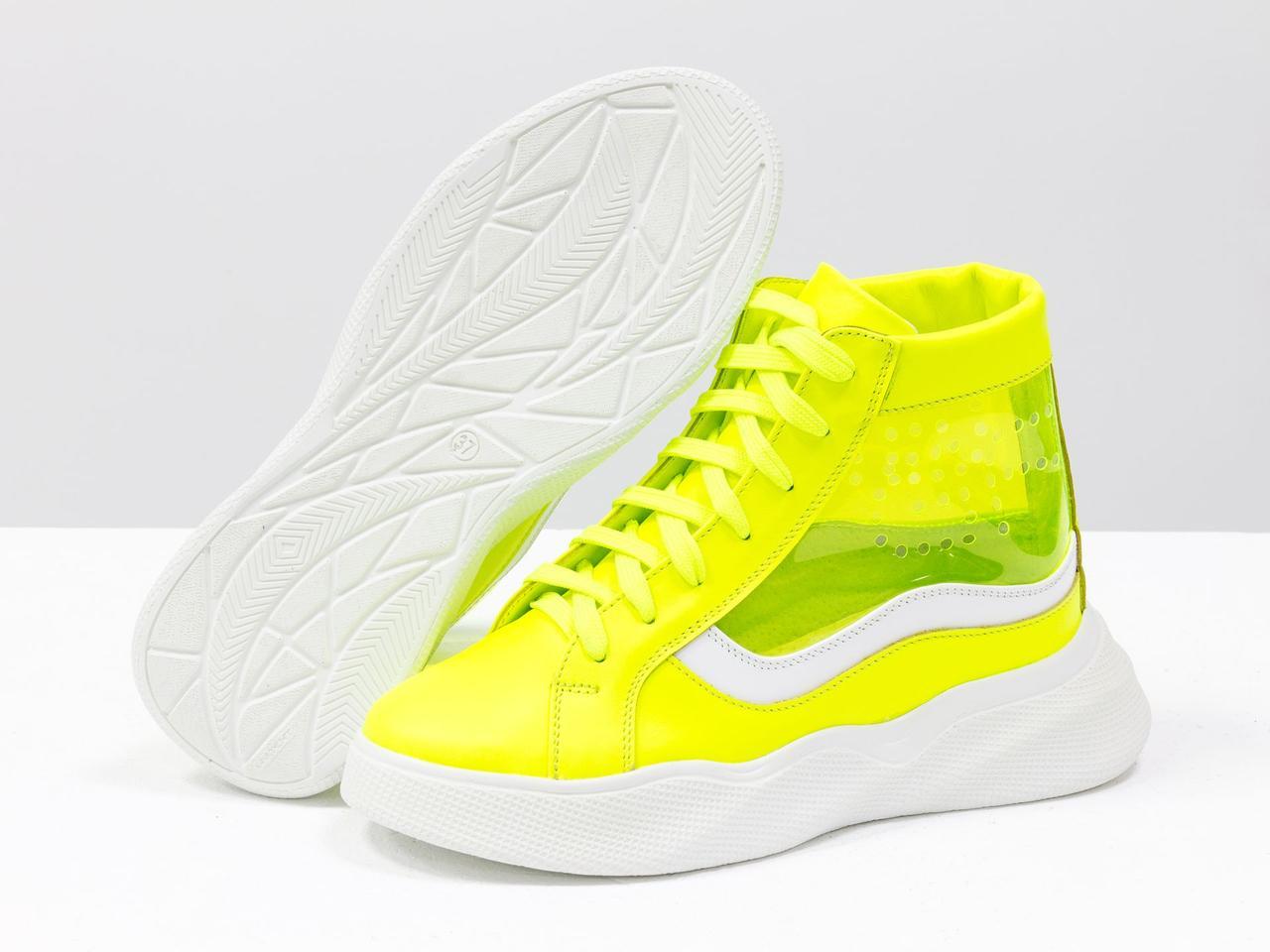 Дизайнерские прозрачные ботинки из натуральной неоновой кожи желтого и белого цвета - фото 6