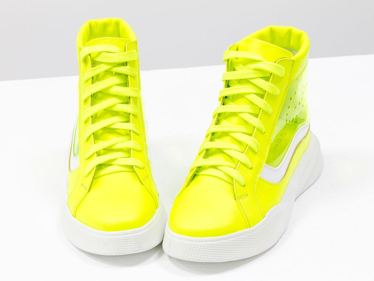 Дизайнерские прозрачные ботинки из натуральной неоновой кожи желтого и белого цвета - фото 7