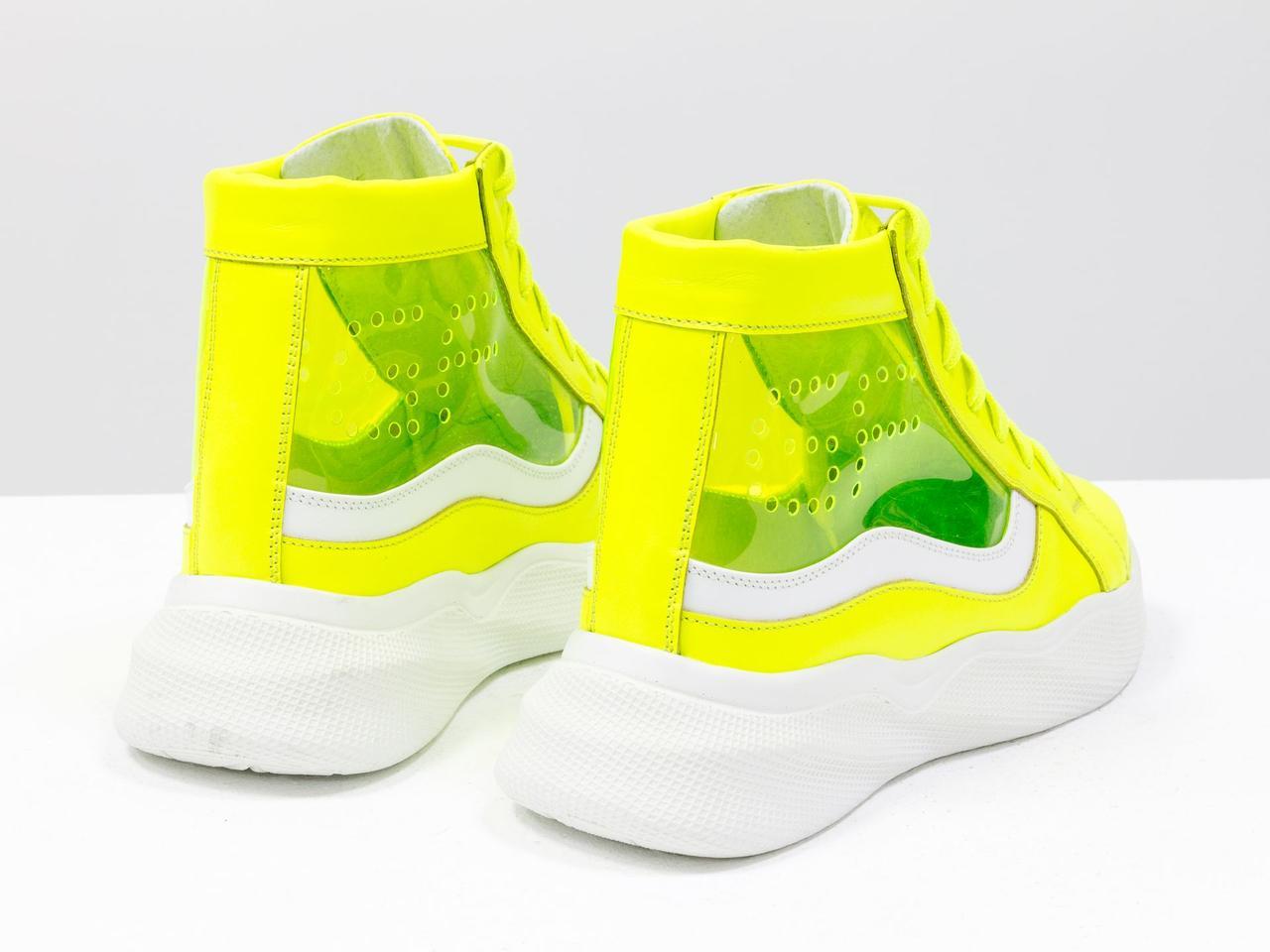Дизайнерские прозрачные ботинки из натуральной неоновой кожи желтого и белого цвета - фото 8