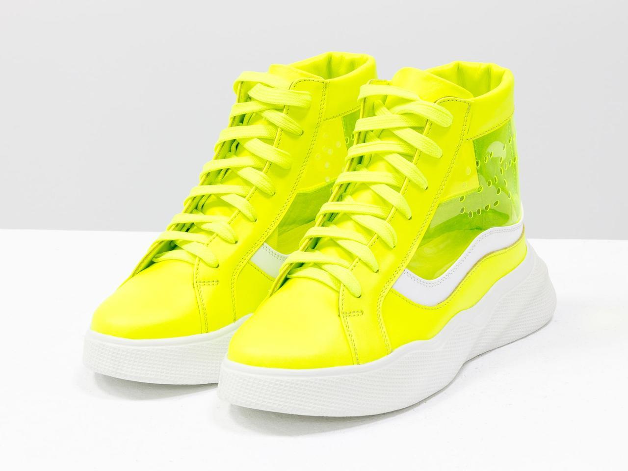 Дизайнерские прозрачные ботинки из натуральной неоновой кожи желтого и белого цвета - фото 9