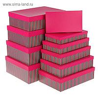 "Набор коробок 10 в 1 ""Полоски с красной крышкой"", 36,5 х 26,5 х 12 - 23 х 13 х 3 см"