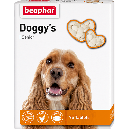 Минеральная кормовая добавка Doggy's Senior для собак старше 7 лет, Beaphar - 75 табл.