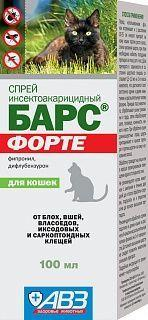 Спрей инсектоакарицидный Барс для кошек, АВЗ - 100 мл