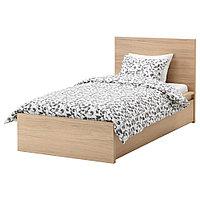 МАЛЬМ Каркас кровати+2 кроватных ящика, дубовый шпон, беленый, Лонсет, 90x200 см, фото 1