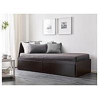 ФЛЕККЕ Каркас кровати-кушетки с 2 ящиками, черно-коричневый, 80x200 см