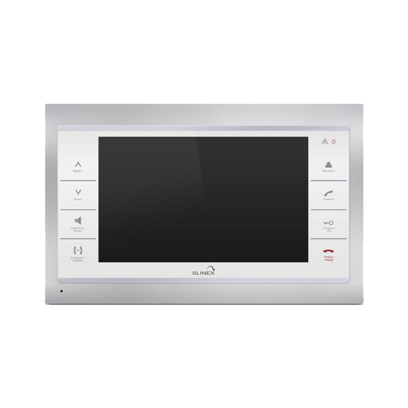"""Slinex SL-10IPT цвет серебро + белый. 10"""" Домофон с сенсорным экраном и переадресацией на смартфон"""