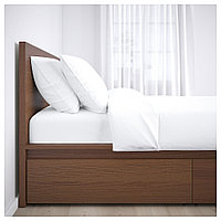 МАЛЬМ Каркас кровати+2 кроватных ящика, коричневая морилка ясеневый шпон, Лонсет, 90x200 см, фото 1
