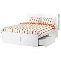 БРИМНЭС Каркас кровати с изголовьем, белый, Лурой, 140x200 см