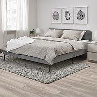СЛАТТУМ Каркас кровати с обивкой, Книса светло-серый, 140x200 см, фото 1