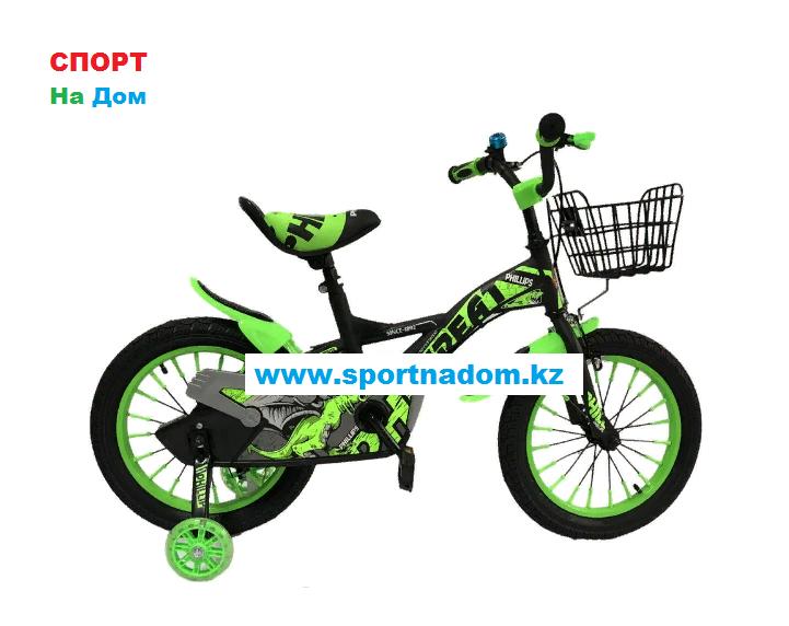 Детский оригинальный велосипед Phillips  с холостым ходом рама 16 (цвет-зеленый)