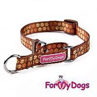 Ошейник ForMyDogs Лапки для собак (Коричневый) - 26 см
