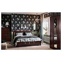СОНГЕСАНД Каркас кровати с 4 ящиками, коричневый, Лурой, 140x200 см, фото 1