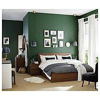 МАЛЬМ Высокий каркас кровати/4 ящика, коричневая морилка ясеневый шпон, Лонсет, 160x200 см, фото 1