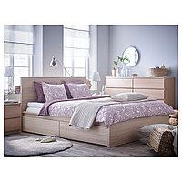 МАЛЬМ Высокий каркас кровати/4 ящика, дубовый шпон, беленый, Леирсунд, 160x200 см, фото 1