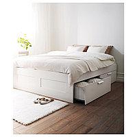 БРИМНЭС Каркас кровати с ящиками, белый, Лурой, 140x200 см, фото 1
