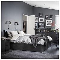 МАЛЬМ Высокий каркас кровати/4 ящика, черно-коричневый, Леирсунд, 160x200 см, фото 1