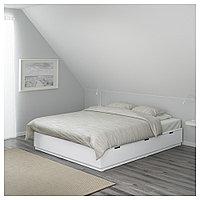 НОРДЛИ Каркас кровати с ящиками, белый, 180x200 см, фото 1