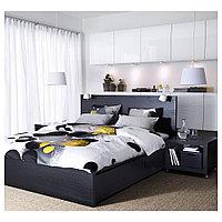 МАЛЬМ Каркас кровати+2 кроватных ящика, черно-коричневый, 160x200 см, фото 1