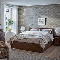 СОНГЕСАНД Каркас кровати с 2 ящиками, коричневый, 140x200 см, фото 1
