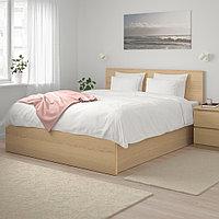 МАЛЬМ Кровать с подъемным механизмом, дубовый шпон, беленый, 180x200 см, фото 1