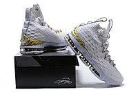 """Баскетбольные кроссовки Nike LeBron XV (15) """"White/Gold"""", 45EUR размер, фото 6"""