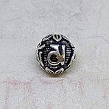 Бусина круглая из серебра, с мантрой, 13мм, фото 3