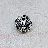 Бусина круглая из серебра, с мантрой, 13мм, фото 2