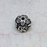 Бусина круглая из серебра, с мантрой, 8мм, фото 2