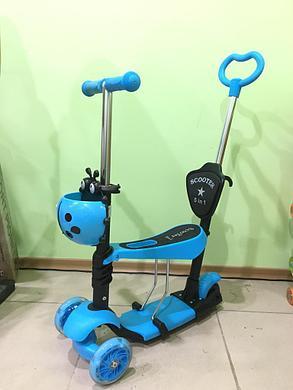 Самокат-беговел со съемным сиденьем (цвет-голубой), фото 2