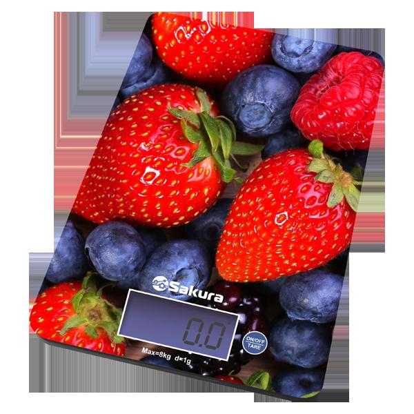 Весы кухон Sakura SA-6075В 8кг элек ягоды