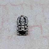 Бусина Снежный Лев (Пи Яо) из серебра, 13х6х8мм, фото 2